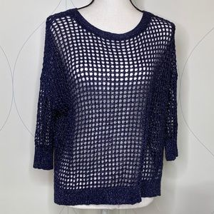 Express open weave sparkle sweater blue S